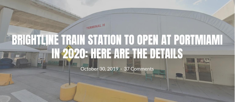 BRIGHTLINE TRAIN STATION OUVRIRA SES PORTES À PORTMIAMI EN 2020
